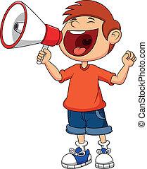 男孩, 卡通, 叫喊, 呼喊