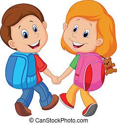 男孩, 卡通, 女孩, 背包