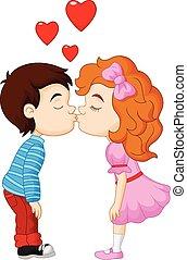 男孩, 卡通, 女孩, 親吻