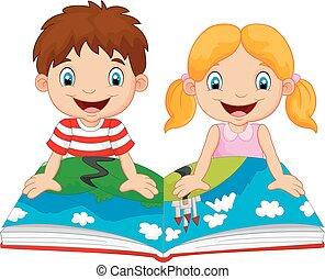 男孩, 卡通, 女孩, 讀物