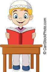 男孩, 卡通, 穆斯林, 書, 閱讀