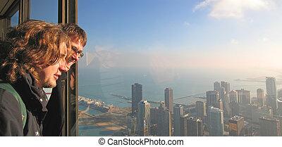 男孩, 團結, 芝加哥, 遊人, 芝加哥, hancock, 海灣, 二, 仔看, 國家, 約翰, 建築物