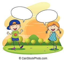 男孩, 女孩, 公園, 談話