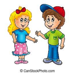 男孩, 女孩, 卡通, 愉快