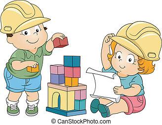 男孩, 女孩, 學步的小孩, 工程師