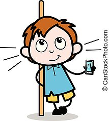 男孩, 學校, 字, 顯示, -, 插圖, 矢量, 音樂, 設備, 卡通