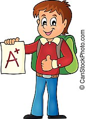 男孩, 學校, 等級, 1, 主題, 加上