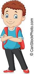 男孩, 學校, 背包, 卡通