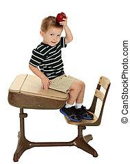 男孩, 學校, 蘋果, 書桌