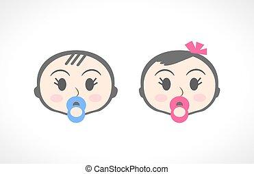 男孩, 小孩子, 向上, 肖像, 關閉, 女孩, 孩子, 嬰孩