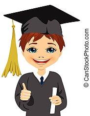 男孩, 很少, 他的, 畢業証書, 畢業, 藏品, 驕傲