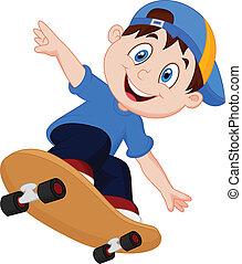 男孩, 愉快, 卡通, 滑板
