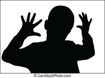 男孩, 手指, 十, 顯示