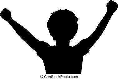 男孩, 提高的武器, 關閉, 愉快, 黑色半面畫像