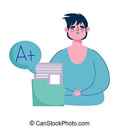 男孩, 教育, 得分, 加上, 學校, 在網上, 學生, 數据, 設計