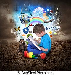 男孩, 書, 教育, 閱讀, 對象