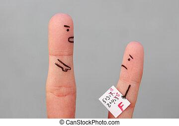 男孩, 概念, 藝術, 責罵, 人們。, 手指, 等級, 坏, 得到, child., 人