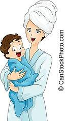 男孩, 毛巾, 洗澡, 媽媽, 嬰孩, 孩子