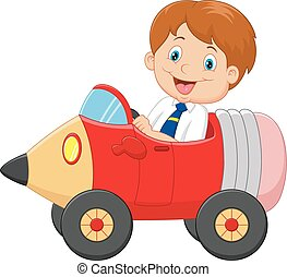 男孩, 汽車, 卡通, 開車, 鉛筆