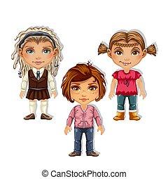 男孩, 特寫鏡頭, 集合, illustration., 女孩, 被隔离, 背景。, 矢量, 畫, 白色, 卡通