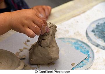 男孩, 玩具, 做, 黏土