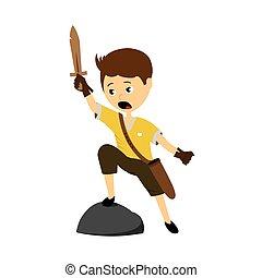 男孩, 矢量, 劍, 插圖