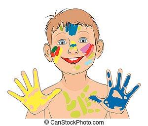男孩, 矢量, 弄髒, 插圖, 畫