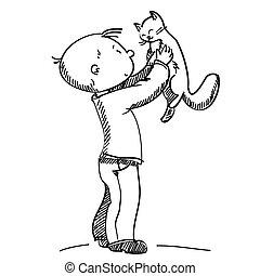 男孩, 矢量, 插圖, 貓