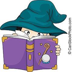 男孩, 研究, 巫術師, 書, 孩子