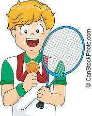 男孩, 網球, 獎章