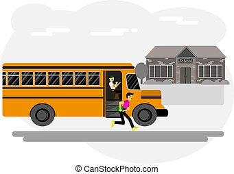 男孩, 跑, 脫開, 得到, 學校, 學校公共汽車, 院子