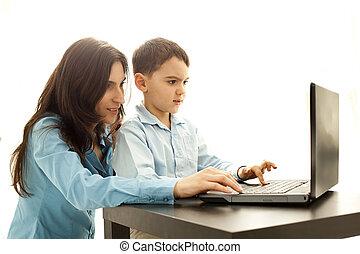 男孩, 電腦, 演奏遊樂場