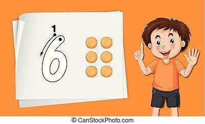 男孩, 顯示, 六, 數字