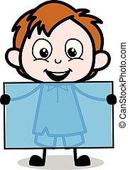 男孩, 顯示, 插圖, 矢量, 板, 空白, 卡通, 愉快
