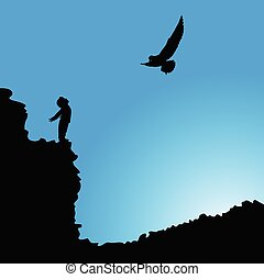 男孩, 黑色半面畫像, 鳥, 插圖, 懸崖