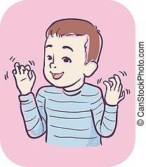 男孩, stimming, 插圖, 手, 症狀, 孩子