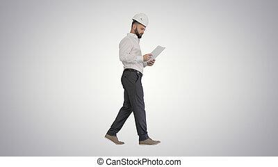 男性, 帽子, 看, 站點, 承包商, 努力, 工程師, 步行