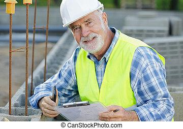 男性, 站點, 工程師, 民用, 建設, 年長者