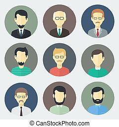 男性, 集合, 臉, 圖象