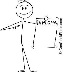 畢業証書, 矢量, 大學, 顯示, 商人, 微笑, 卡通, 人, 藏品, 插圖, degree., 或者