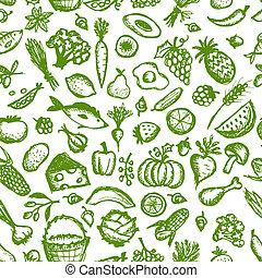 略述, 健康, seamless, 圖案, 食物, 設計, 你