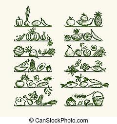 略述, 架子, 健康的食物, 設計, 你