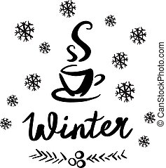 略述, 矢量, 冬天, 插圖