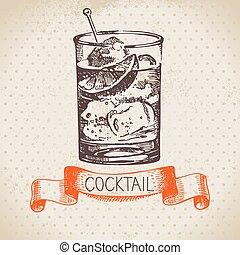 略述, 雞尾酒, 葡萄酒, 手, 背景, 畫
