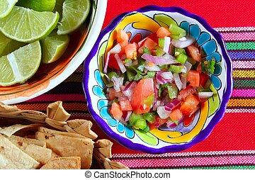 番茄, 墨西哥人, de, pico, 干辣椒, 調味汁, gallo