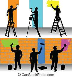 畫家, 顏色, 工人, 各種各樣