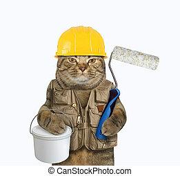 畫罐, 刷子, 滾柱, 貓