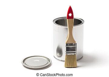 畫罐, 打開, 罐頭, 刷子