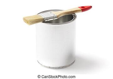 畫, 打開, 罐頭, 刷子