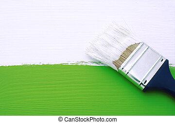 畫, 白色, 畫, 綠色, 表面